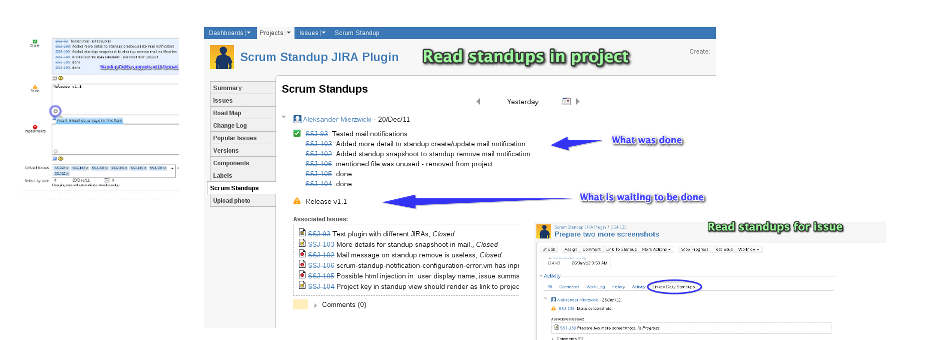 Scrum Standup plugins for JIRA and Confluence